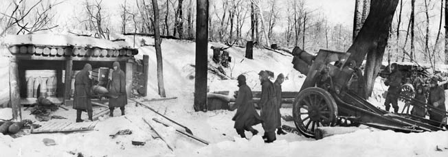 During the winter of 1942, the Soviet Red Army mounted an effort to relieve pressure on the besieged city of Leningrad. These troops prepare to fire on German positions with a machine gun and other automatic weapons.