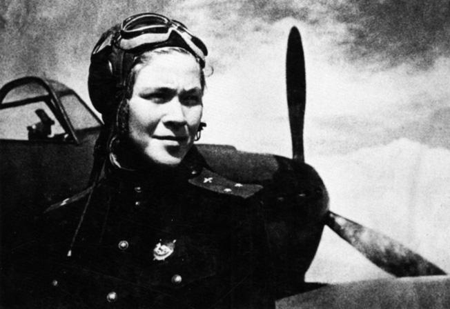 The determined glare of fighter pilot Raisa Surnachevskaya is testament to the commitment of the Night Witches to the ultimate victory over the Nazis. Surnachevskaya flew with the 586th Regiment.