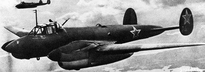 Soviet PE-2 bombers in flight.