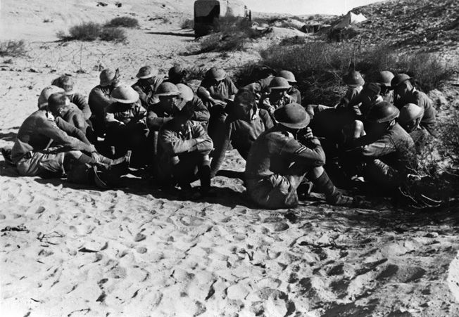 A group of British prisoners taken after the battle of Bir el Gubi. Cyrenaica (Italian colonial Empire), December 1941. (Photo by Mondadori Portfolio via Getty Images)
