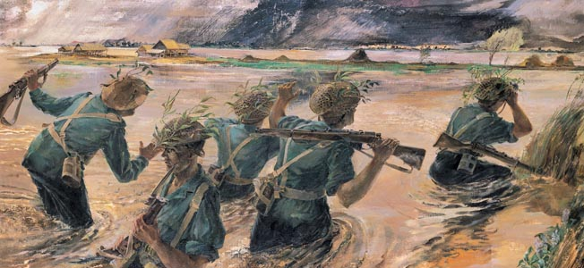In February-March 1945, the ferocious fight for central Burma led by General William Slim and the 14th Army turned into a decisive British victory.