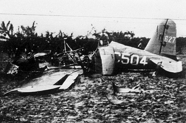 This Vultee BT-13A basic trainer crashed into a peach orchard near Lee Pope, Georgia, killing the solo pilot on board, April 26, 1943.