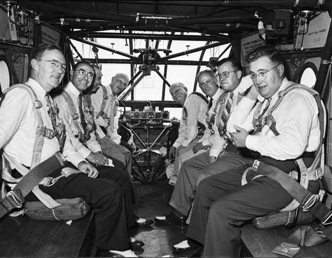 The doomed passengers pose before a demonstration flight of a CG-4A glider in St. Louis, August 1, 1943. William Robertson, head of the company that built it, is pictured third from right.