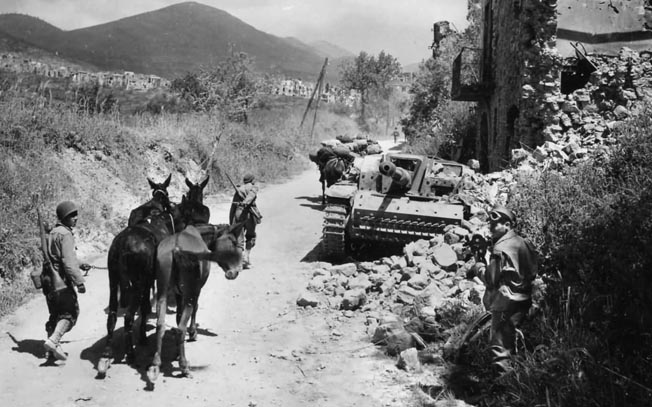 GIs with pack animals haul supplies past a knocked-out German Sturmgeschütz 40 Ausf.F (STuG 40) assault gun while heading toward another town in the Apennine Mountains of Italy.