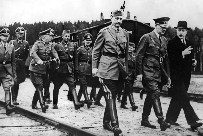 Field Marshal Carl Gustav Emil Mannerheim (center), commander in chief of Finland's Defense Forces, secretly met with Hitler, June 17, 1942.