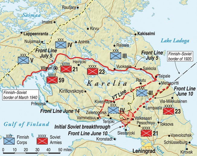 Soviet and Finnish positions during the initial breakthrough, the front line, and the VT line.