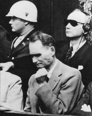 Rudolf Hess at the Nuremberg trials.