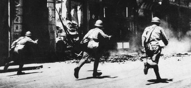 SINO-JAPANESE WAR, 1937.  Japanese soldiers fighting in the Battle of Shanghai, August-November 1937, during the second Sino-Japanese War.