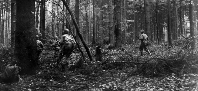 In the autumn of 1944, the U.S. First Army was chewed up in the Hürtgen Forest where it had to contend with counterattacks by the Germans.