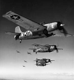 U.S. Navy Grumman F4F Wildcat fighters flying in formation. Despite the Wildcats' slow climb rate and machine guns with a tendency to jam, the Wildcats' pilots were exceptionally skilled and courageous––as they demonstrated on February 20, 1942.