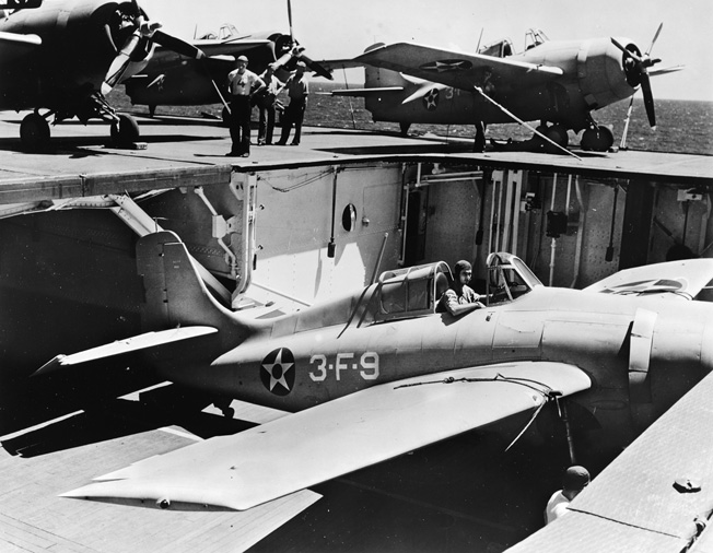 Wildcat fighters of VF-3 on board the USS Saratoga, October 1941, before being transferred to her sister ship, the Lady Lex.