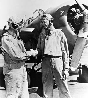 O'Hare, left, and Thach pose for a photo at Kaneohe Naval Air Station, April 10, 1942. O'Hare would go missing on November 26, 1943, after receiving the Medal of Honor.