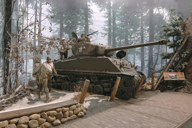 The snow and cold of the Battle of the Bulge are captured in this highly realistic diorama.