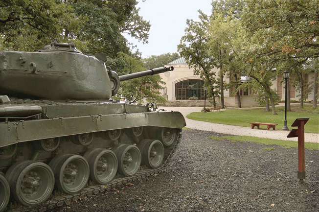 One of several tanks guards the entrance to the 1st Infantry Division Museum at Cantigny Park in Wheaton, Illinois, outside of Chicago.
