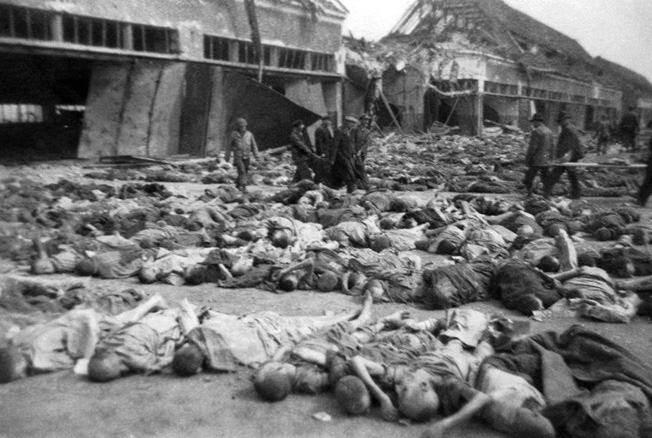 Another view of mass death at Boelcke Kaserne, photographed by the author's father in April 1945.