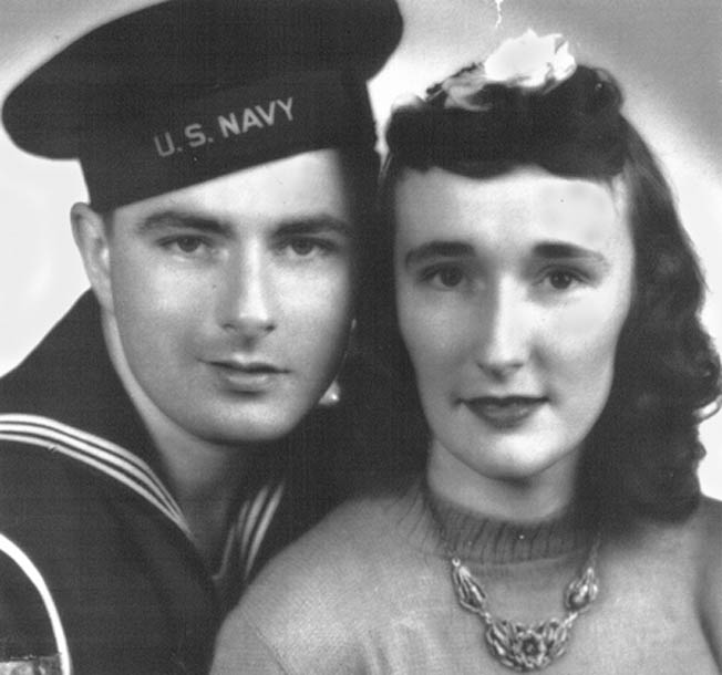Ray Woods photographed with his wife during the war.