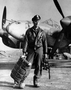 "First Lieutenant James K. Kunkle at A-78 airfield, Florennes, Belgium, in November 1944, in what Kunkle calls a ""public relations photo released with notice of the award"" of the Distinguished Service Cross, the second highest U.S. decoration for valor."
