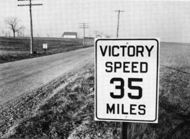 Reducing the speed limit to 35 mph saved both rubber and gas.