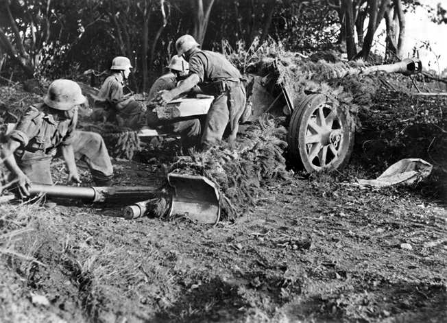 German troops defend an area near Salerno with a camouflaged 7.5cm PaK 40 antitank gun.