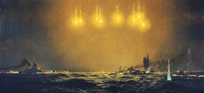 In this wartime painting, flares illuminate the night sky on the day after Christmas 1943, as elements of the British Royal Navy led by the battleship Duke of York surround and overwhelm the German battlecruiser Scharnhorst, sending her to a watery grave in what came to be known as the Battle of the North Cape. Nearly 2,000 German seamen were killed.
