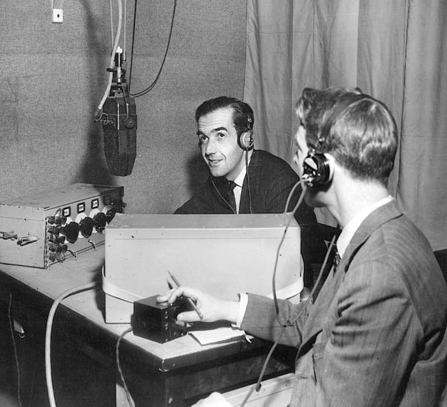 American radio reporter Edward R. Murrow broadcasts from a London studio during the Blitz. He mistakenly reported that St. Paul's had been destroyed.