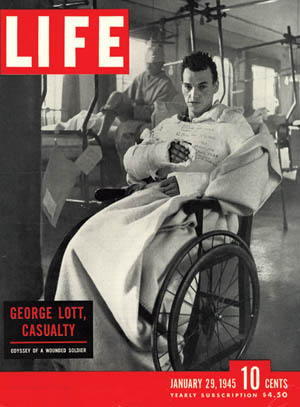 The cover of LIFE magazine, January 29, 1945, featured Ralph Morse's photo of a recuperating George Lott.