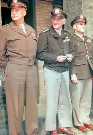 Supreme Allied commander General Dwight D. Eisenhower (left) stands with General Carl Spaatz (center), head of Army Air Force Combat Command, and Eighth Air Force Commander Jimmy Doolittle.