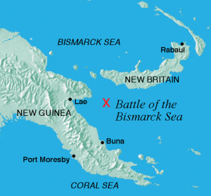 Off the coast of New Guinea to the west and the neighboring island of New Britain to the East, a devastating blow was delivered to Japanese plans for conquest in the South Pacific.