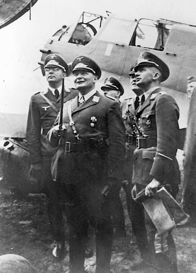 Luftwaffe Commander-in-Chief Hermann Göring inspects captured Allied aircraft. He unrealistically promised Adolf Hitler that he would defeat the Royal Air Force in time for Operation Sea Lion, the amphibious invasion of England.