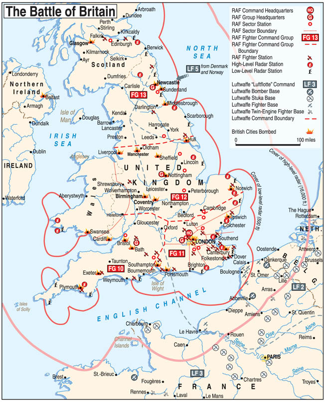 The map shows British radar cover, fighter bases, and fighter group boundaries, as well as Luftwaffe bases, during the Battle of Britain.