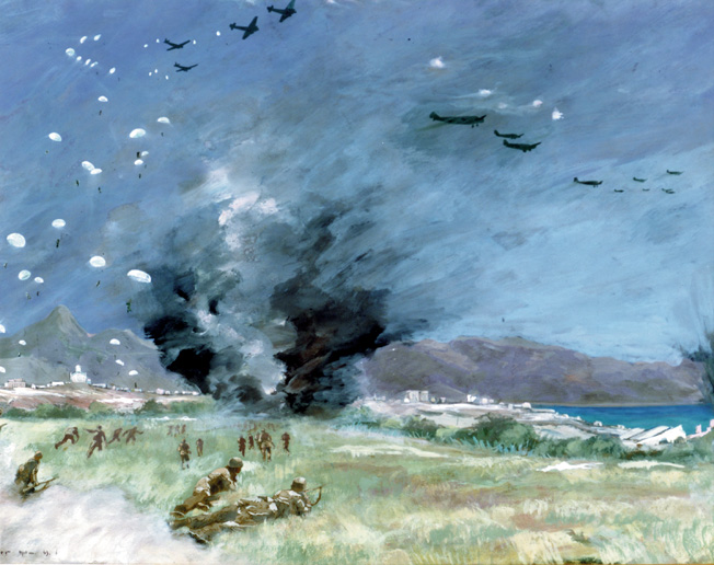 A German artist painted this scene of paratroopers advancing warily across a field in Crete while their comrades descend from Junkers Ju-52 transport aircraft overhead.