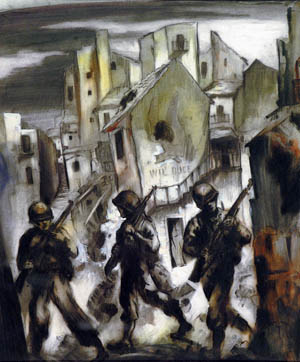In a gloomy painting of war on the Italian front, American soldiers trudge through a bombed-out village. The U.S. Army Rangers, led by Lt. Col. William O. Darby, fought gallantly in Italy but were decimated in an ambush near Cisterna.