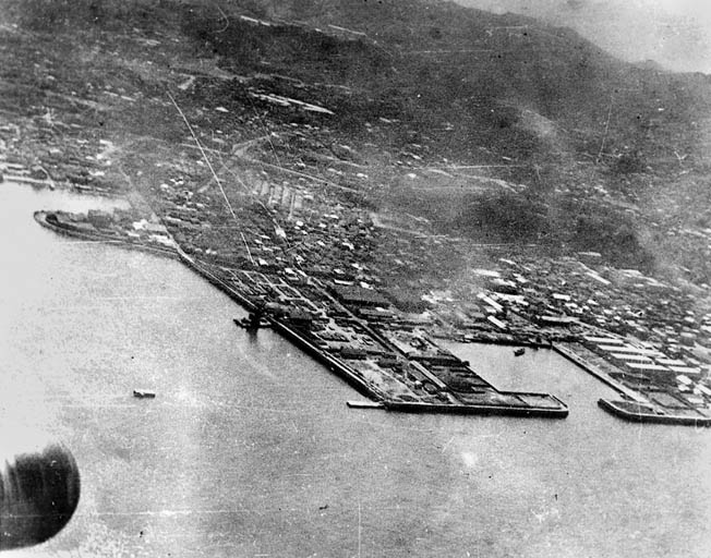 A photo of the Yokosuka Naval Base, south of Tokyo and Yokohama, probably taken from a window of Plane 13. The surprise raid—payback for Pearl Harbor—shattered Japan's belief of invulnerability.