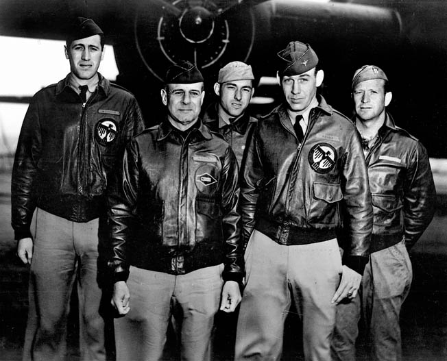 The crew of B-25 #40-2344, the lead bomber (left to right): Lieutenant Henry A. Potter, navigator; Lt. Col. James H. Doolittle, pilot; S/Sgt. Fred A. Braemer, bombardier; Lieutenant Richard E. Cole, co-pilot; S/Sgt. Paul J. Leonard, flight engineer/gunner.