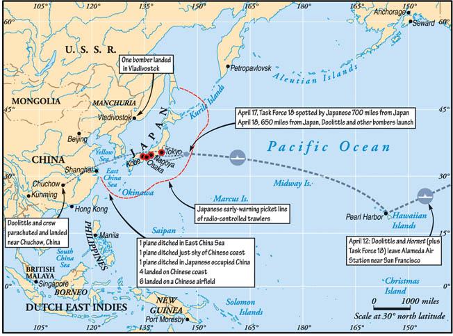 Map showing the routes and the landing or crash sites of Doolittle's Raiders.