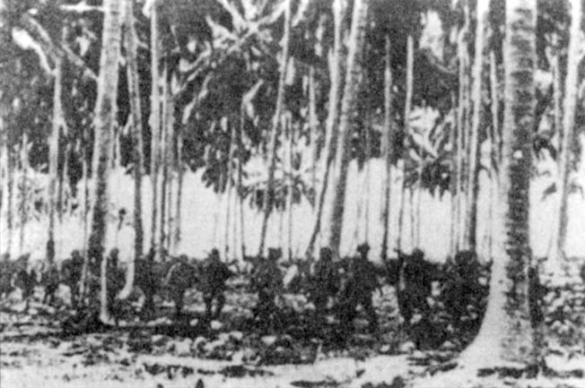 Japanese soldiers of the Kawaguchi Detachment make their way toward the battlefront. Kawaguchi was relieved of command for his bungled handling of the assault on Edson's Ridge.