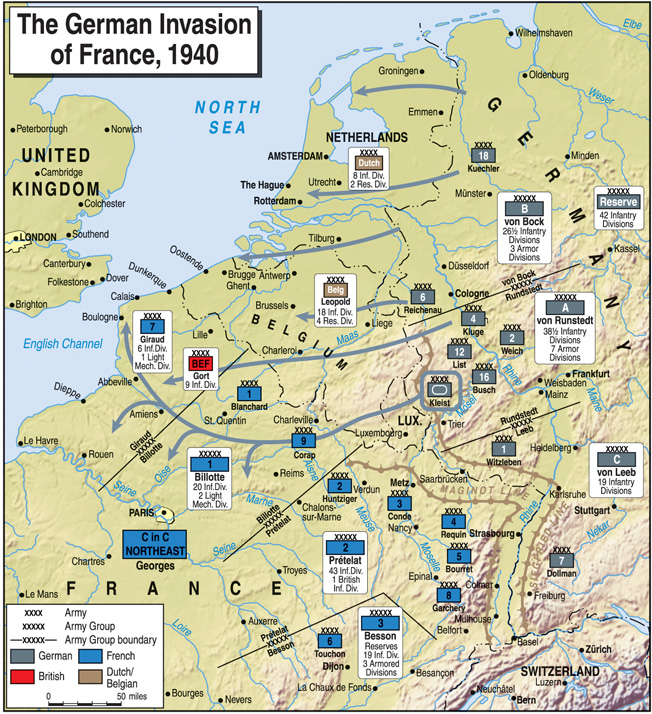 In a matter of weeks, German armored spearheads advanced across the breadth of France, forcing their traditional enemies to the surrender table and pushing the British Expeditionary Force into a narrow perimeter around the French port city of Dunkirk.