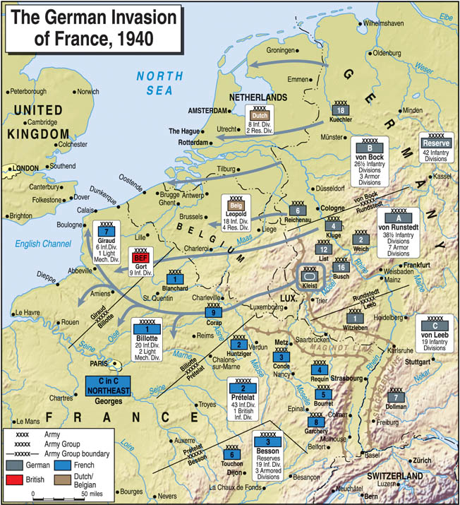 "Using Blitzkreig (""lightning war"") tactics, the Germans' Army Groups A and B rapidly swept through France, Holland, Belgium, and Luxembourg, overwhelming the countries' defenses."