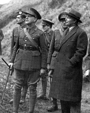 British General Lord Gort, left, commander of the BEF, observes maneuvers with British War Minister Leslie Hore-Belisha, 1940.