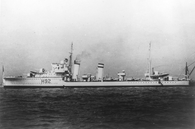 In happier times, the destroyer HMS Glowworm presents an attractive profile. Lightly armed and armored, the little ship nevertheless inflicted serious damage on the German heavy cruiser Hipper.