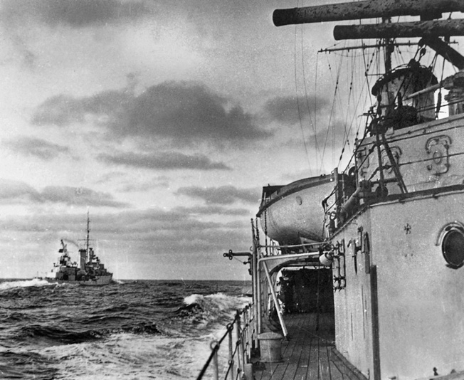 British cruisers patrol the sea lanes of the South Atlantic near the mouth of the River Plate during the early days of World War II.