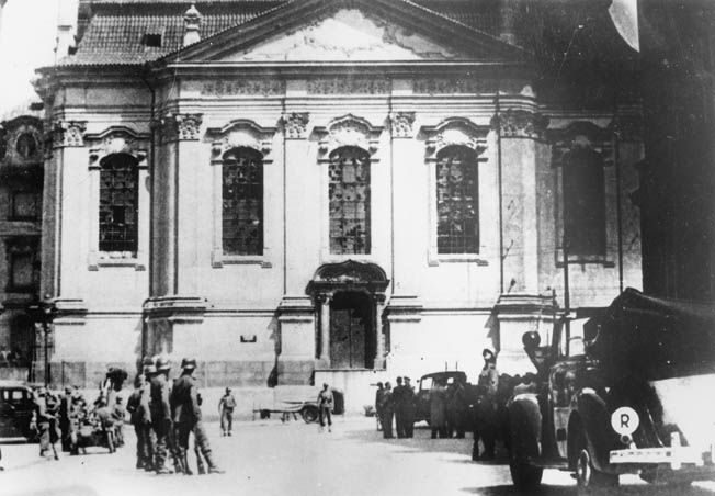 Following the assassination of Reinhard Heydrich, eight Czech partisans were tracked to the Church of St. Cyril and Methodius in Prague after they were betrayed. Surrounded, the Czechs resisted but were eventually either killed by the Germans or committed suicide rather than surrender.