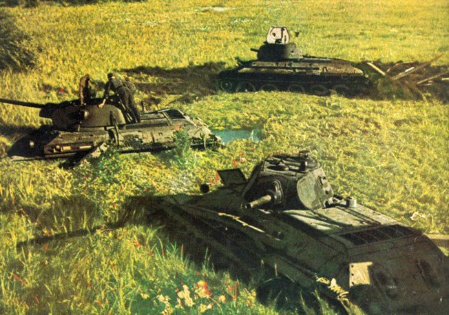 Soviet tanks founder in a marshy quagmire near Tolotshin on the Drut River. The armored force was attempting to break through enemy lines and envelop a large German force.