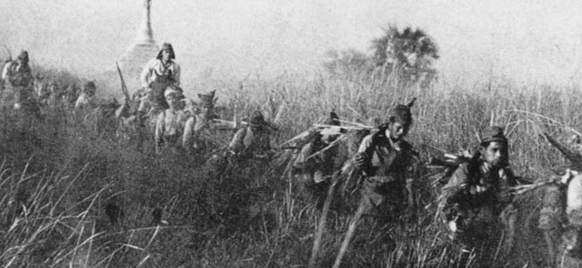 Japanese troops make their way through tall grass in the Burmese jungle, some sporting camouflage covering on their backs.