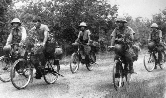The invading Japanese took advantage of bicycles, a reliable form of transportation along jungle roads and trails. When the rubber tires went flat, the soldiers simply kept riding on the metal rims.
