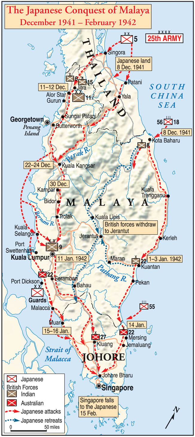 After invading Thailand (Siam) and northern Malay on December 8, 1941, the Japanese marched southward through mountains and jungles to push the defenders to the tip of the peninsula at Singapore.