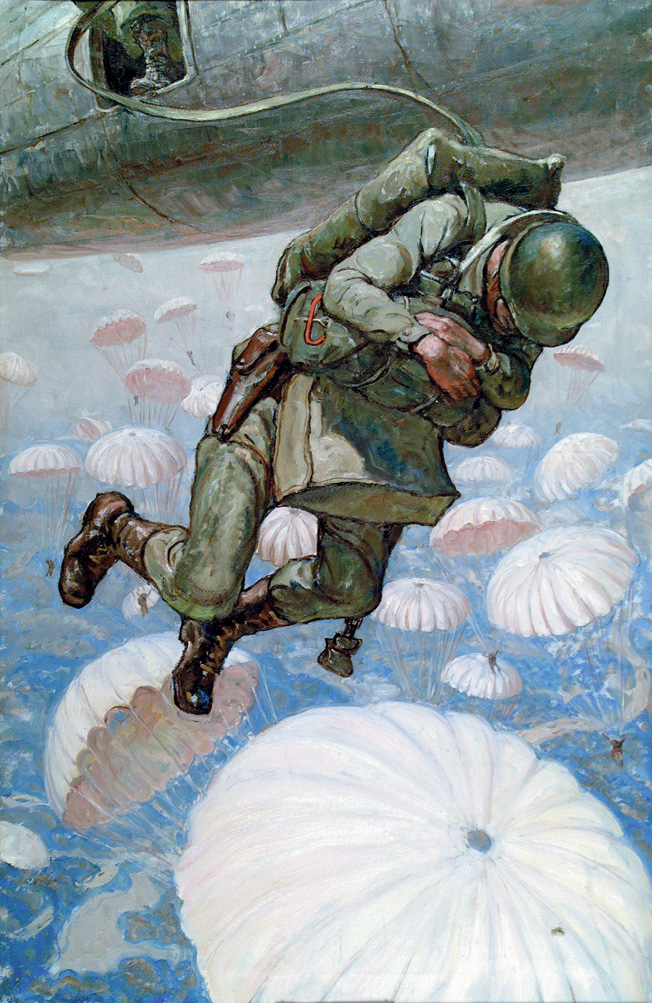 In his painting The Parachutist, artist Harvey Dunn captures the moment when an American paratrooper leaps from his transport aircraft. The U.S. jump into Holland during Operation Market Garden was near perfect and carried out in daylight.