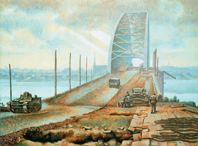 In this somewhat desolate painting, British armored vehicles cross the embattled bridge over the Waal River at Nijmegen, Holland, during Operation Market Garden. The costly operation failed to realize Montgomery's hopes for a quick victory.