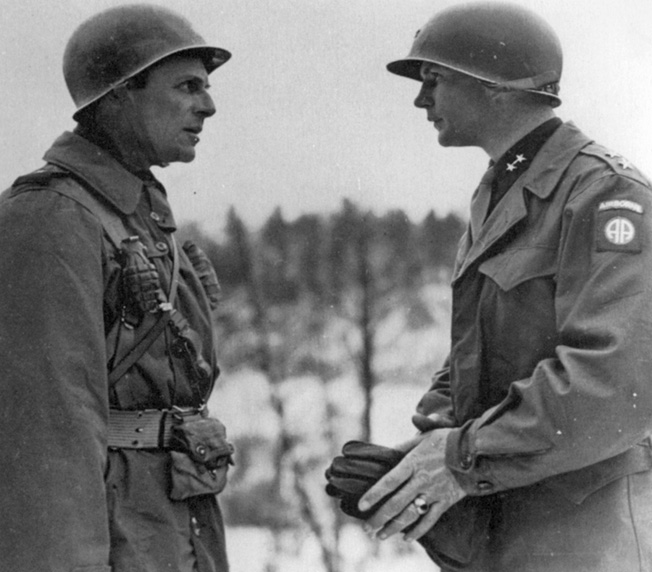 Sometime after the withdrawal of airborne troops from Holland, Maj. Gen. Matthew Ridgway (left), commander of the XVIII Airborne Corps, talks with newly promoted Maj. Gen. James M. Gavin.