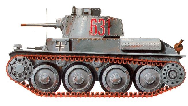 The Czech-designed Panzer 38(t) saw extended service with the German Army during WWII. The chassis was also used in other vehicles including self-propelled assault and antitank guns.